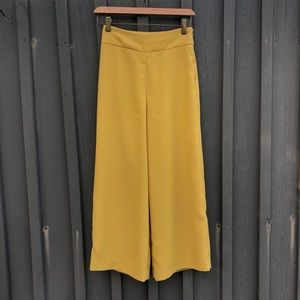 High waisted yellow culottes